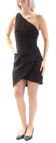 Black Cut Out Sleeveless Asymmetrical Neckline Mini Tulip Party Dress