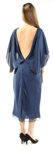 Navy Dolman Sleeve Jewel Neck Midi Sheath Evening Dress