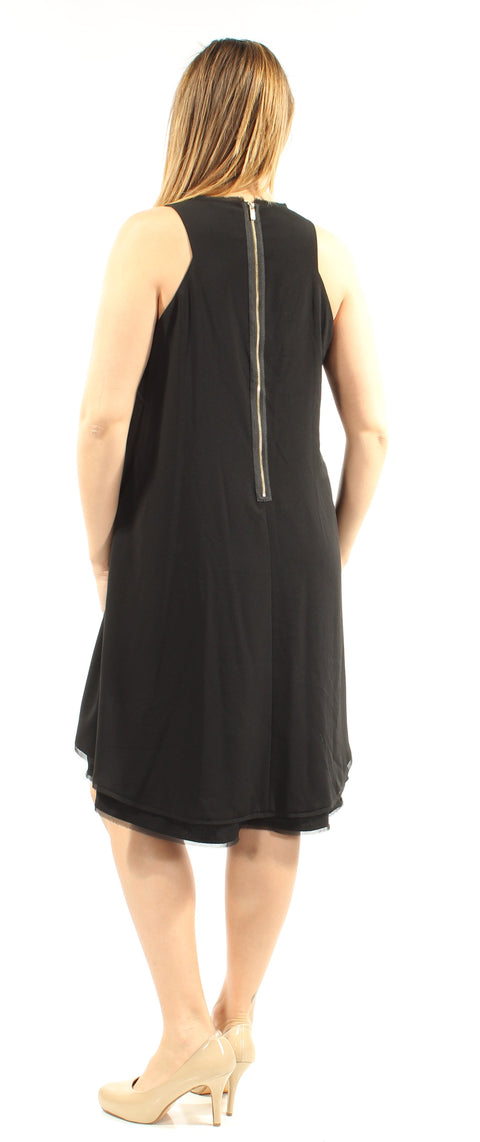 Black Sleeveless Jewel Neck Above The Knee Hi-Lo Dress