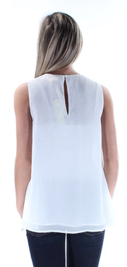 White Glitter Sleeveless Jewel Neck Top
