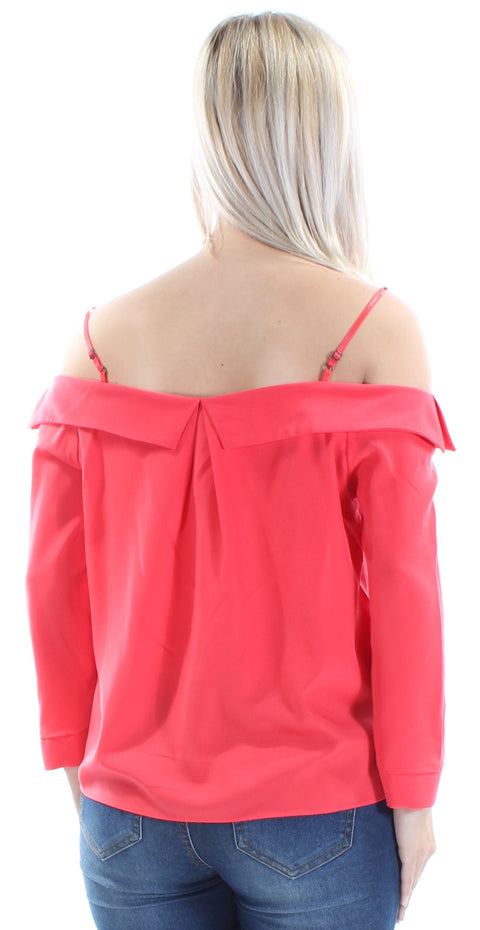 Coral Long Sleeve Off Shoulder Top