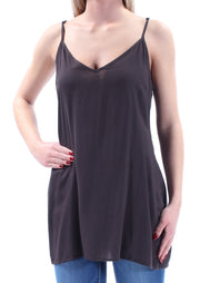 Black Spaghetti Strap V Neck Top