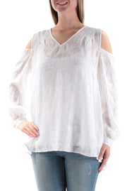White Cut Out Long Sleeve V Neck Blouse