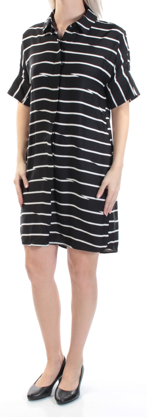 Black Striped Cuffed Collared Above The Knee Tunic Dress