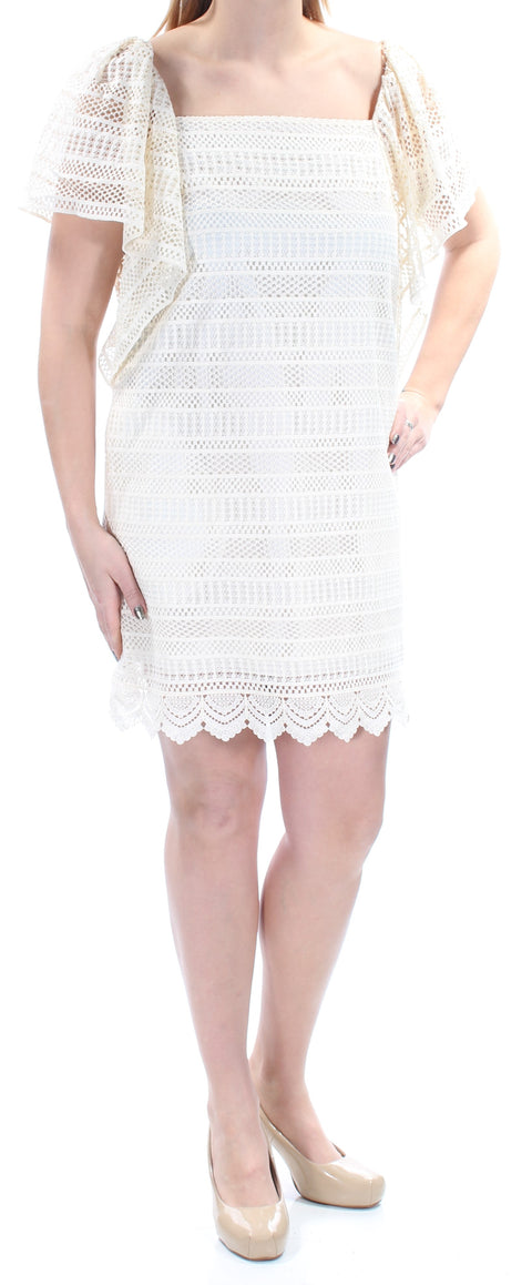 Ivory Lace Short Sleeve Square Neck Mini Shift Cocktail Dress