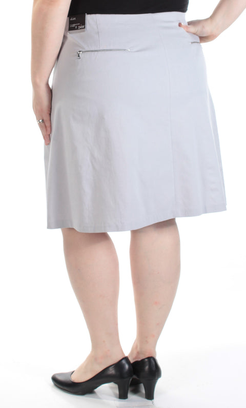 Gray Above The Knee A-Line Wear To Work Skirt