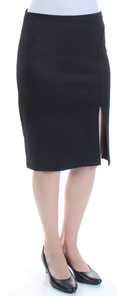 Black Slitted Below The Knee Pencil Wear To Work Skirt