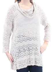 Beige Eyelet Long Sleeve Cowl Neck Sweater