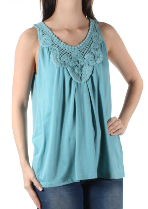 Green Embroidered Sleeveless Jewel Neck Top