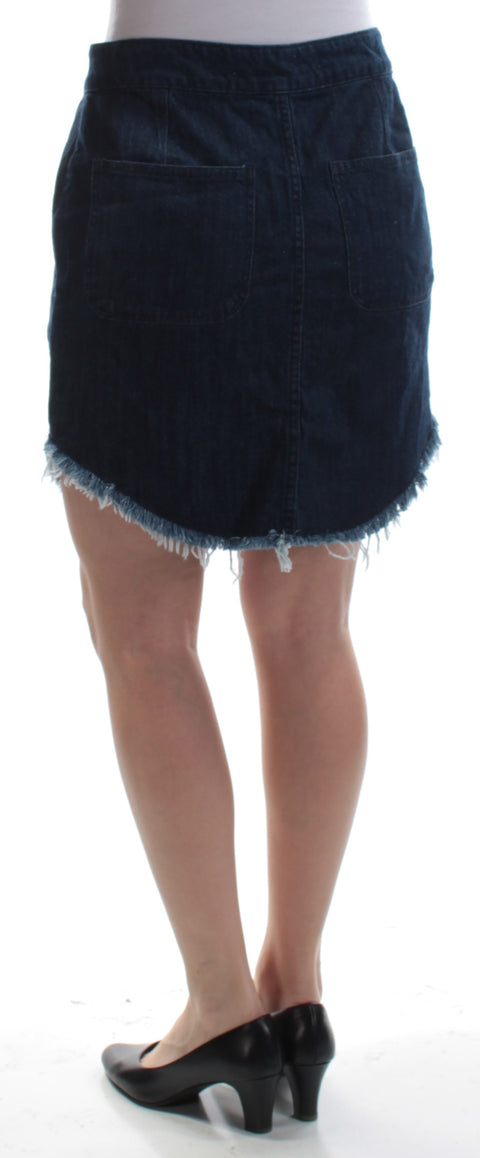 Blue Frayed Pocketed Button Front Denim Mini A-Line Skirt