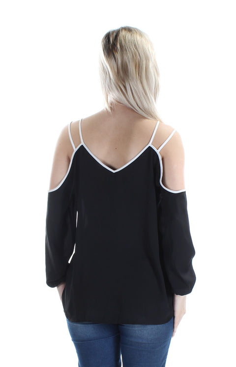 Black Cut Out Long Sleeve V Neck Top