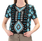 Black Tribal Short Sleeve Jewel Neck Top