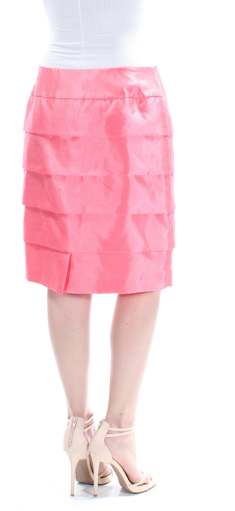 Coral Knee Length Layered Skirt