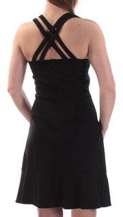 Black Cross Back Sleeveless Jewel Neck Above The Knee Fit + Flare Dress