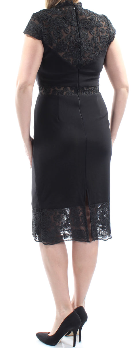 Black Lace Cap Sleeve Jewel Neck Below The Knee Sheath Cocktail Dress