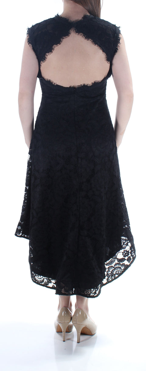 Black Lace Zippered Floral Cap Sleeve Crew Neck Tea Length Hi-Lo Formal Dress