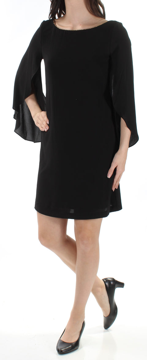 Black Kimono Sleeve Jewel Neck Mini Shift Dress
