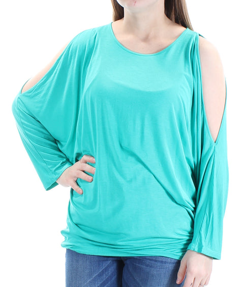 Green Slitted Long Sleeve Jewel Neck Top