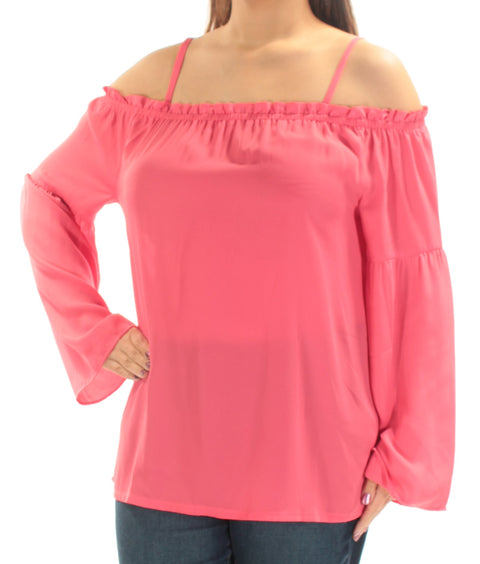Pink Cut Out  Sheer Long Sleeve Off Shoulder Peasant