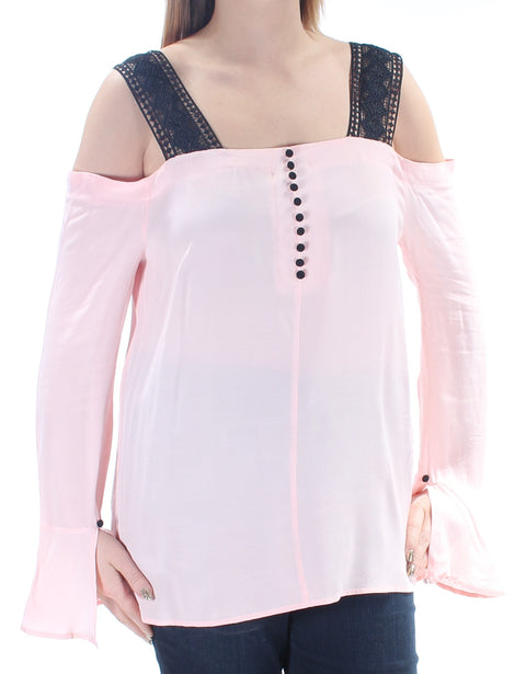 Pink Embroidered Bell Sleeve Square Neck Top