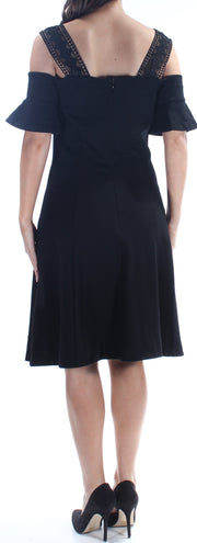 Black Lace Short Sleeve Square Neck Knee Length Fit + Flare Cocktail Dress
