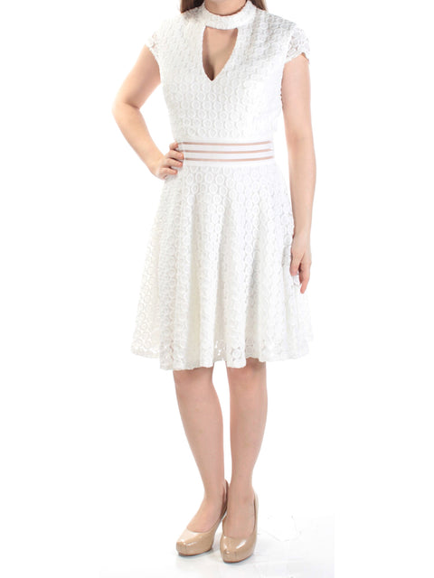 Ivory Cut Out  Lace Cap Sleeve Halter Above The Knee Fit + Flare Dress
