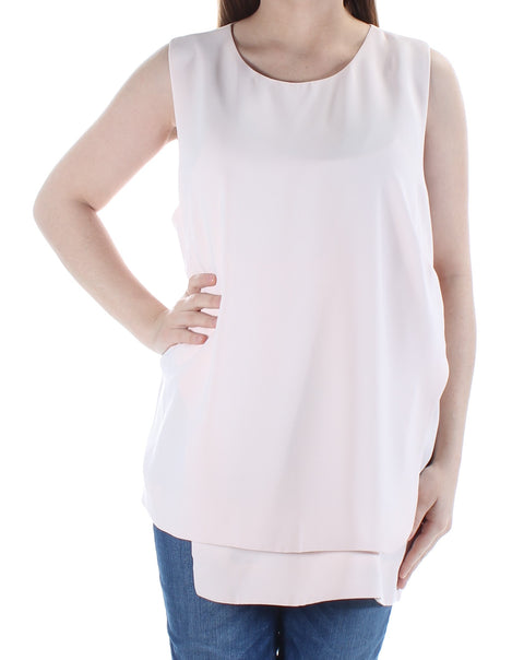 Pink Sleeveless Jewel Neck Top