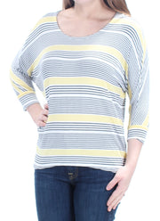 Yellow Striped 3/4 Sleeve Scoop Neck Top