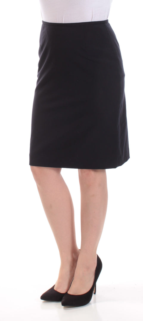 Black Above The Knee Pencil Wear To Work Skirt