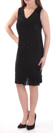 Black Lace Pleated Floral Sleeveless V Neck Above The Knee Shift Dress