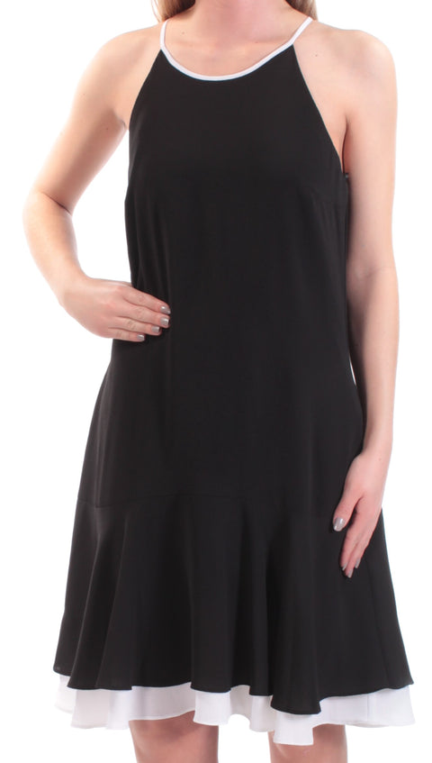 Black Spaghetti Strap Jewel Neck Above The Knee A-Line Dress