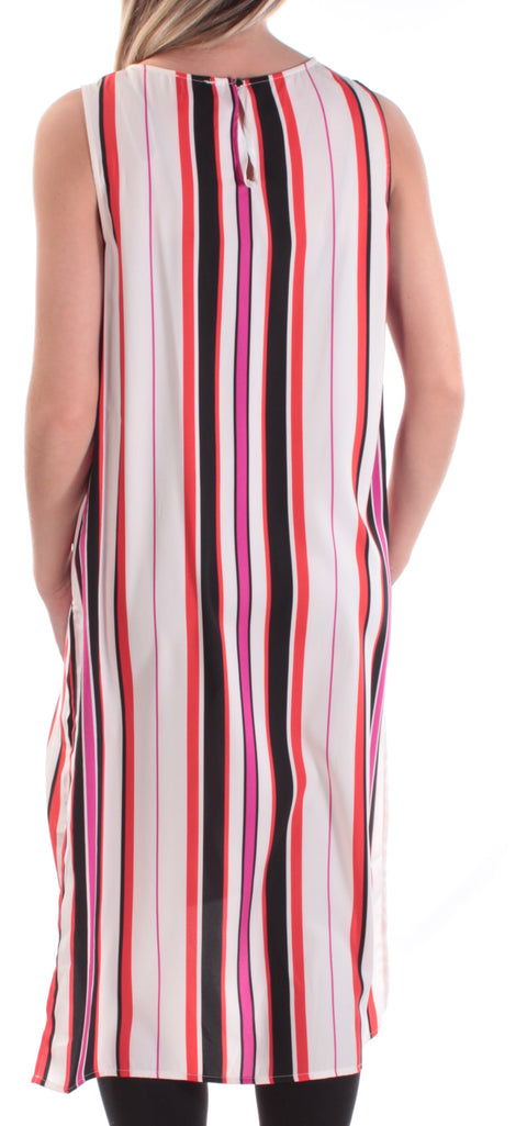 Ivory Striped Sleeveless Jewel Neck Wear To Work Top