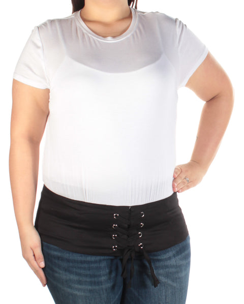 White Eyelet Color Block Short Sleeve Jewel Neck Top