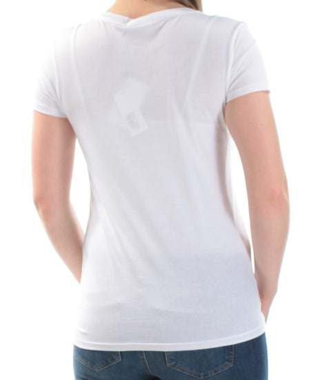 White Championne Short Sleeve Scoop Neck Top
