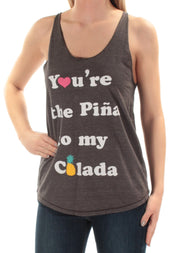 Gray Pina Colada Sleeveless Scoop Neck Top