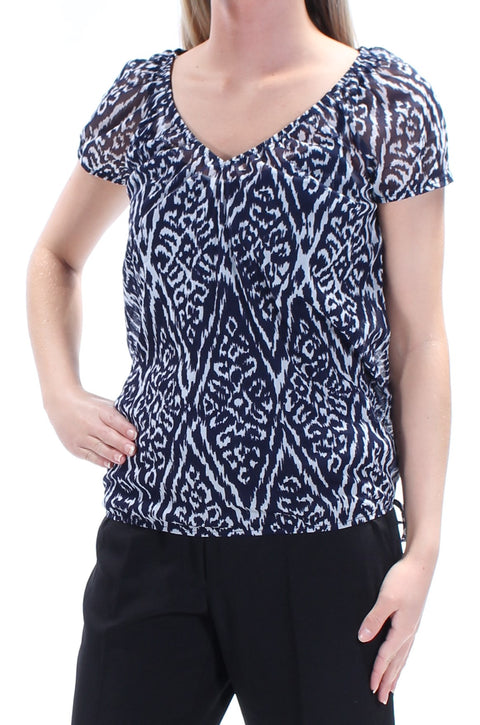 Navy Tie Geometric Short Sleeve V Neck Top