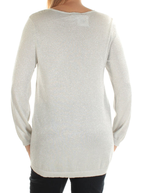Silver Metallic Long Sleeve Scoop Neck Top