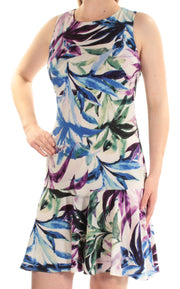 Blue Printed Sleeveless Jewel Neck Above The Knee Drop Waist Dress