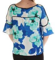 Blue Floral 3/4 Sleeve Jewel Neck Top