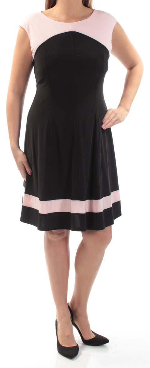 Black Cap Sleeve Jewel Neck Above The Knee Fit + Flare Dress