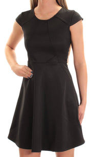 Black Cap Sleeve Jewel Neck Mini Fit + Flare Dress
