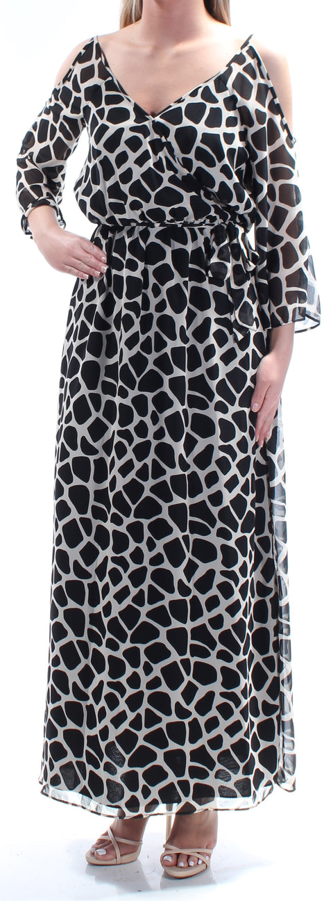 Black Cold Shoulder Animal Print Long Sleeve V Neck Maxi Blouson Dress