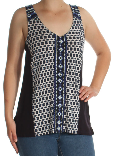 Navy Embroidered Printed Sleeveless V Neck Top
