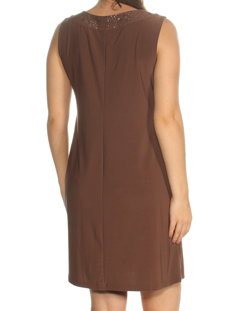Brown Sleeveless Jewel Neck Above The Knee Shift Dress