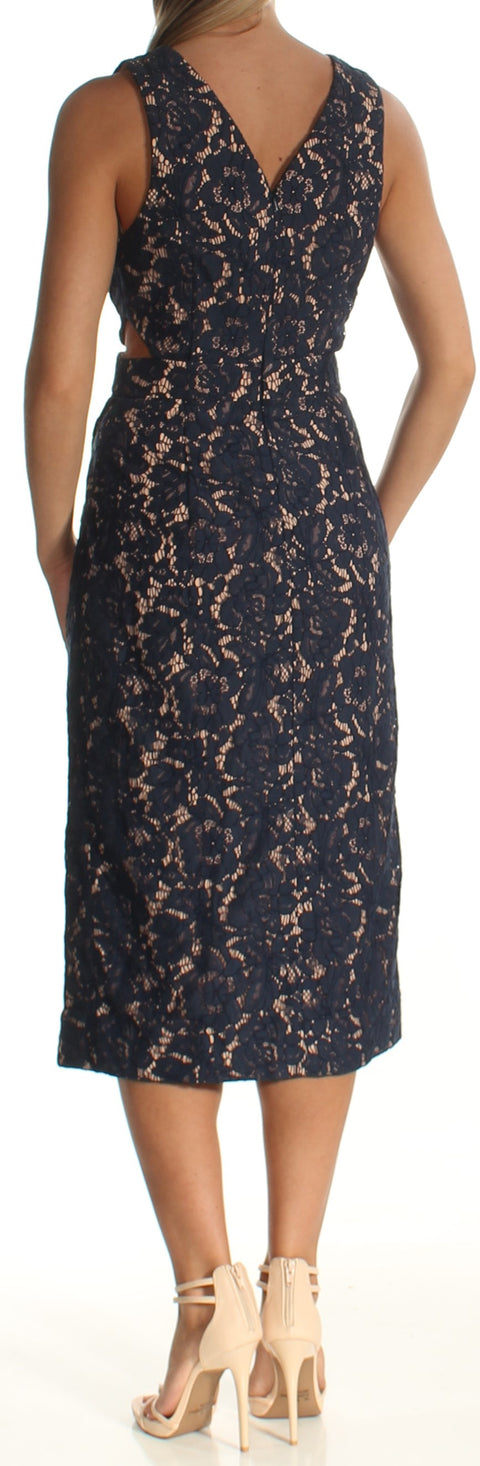 Navy Cut Out Sleeveless Jewel Neck Below The Knee Sheath Dress