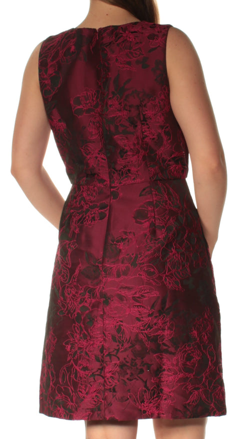 Red Sleeveless V Neck Above The Knee Fit + Flare Evening Dress