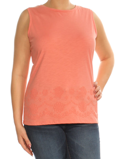 Coral Embellished Sleeveless Crew Neck Top