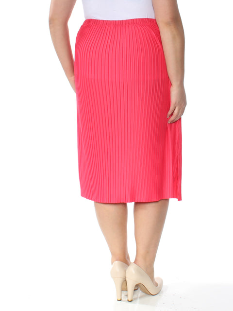 Pink Pleated Midi Shift Wear To Work Skirt