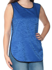 Blue Animal Print Sleeveless Jewel Neck Top