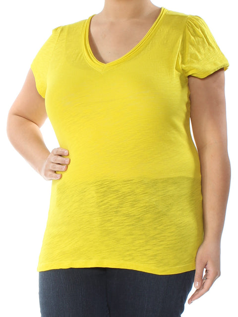 Yellow Short Sleeve V Neck Top